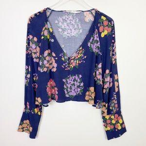 ZARA Floral Long Sleeve Crop Top M Blue Boho
